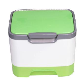 Portable Multifunctional Cosmetic Storage Box With A Mirror Green - intl