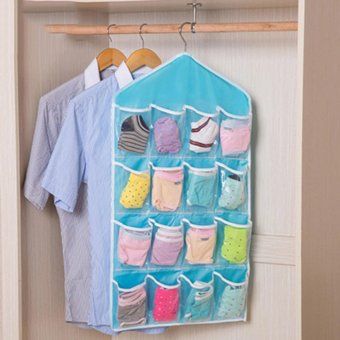 Harga 16 Pockets Clear Over Door Hanging Bag Shoe Rack Hanger Storage Organizer Nice Blue -