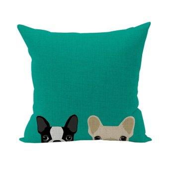 Nunubee Cotton Linen Square Throw Pillow Case Decorative Cushion Cover Pillowcase for Sofa Green Animals 1