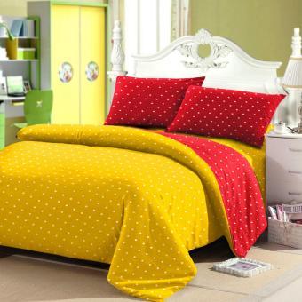 Jaxine Sprei Tinggi 30cm Motif Polkadot Warna Yellow Red