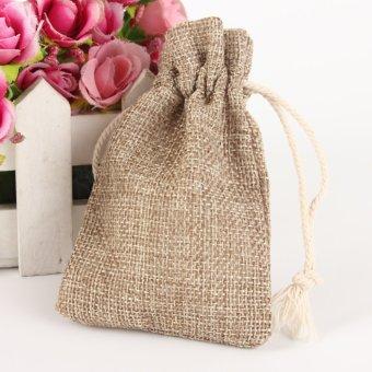 12pcs Jute Hessian Linen Burlap Drawstring Candy Pouches Hessian Gift Favour Bag - intl