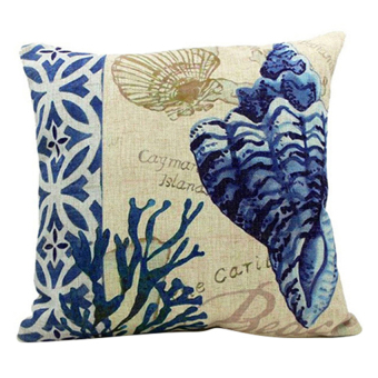 Ocean Cushion Cover (Beige/Blue)