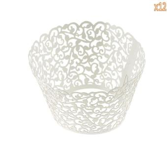 ooplm 12 Pcs Cupcake Wrapper Paper Design Carrier Cups for Wedding Party Decoartion (White)