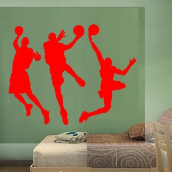 DIY Basketball Player Wall Sticker Removable Home Art Decor Waterproof Wall Decal PVC Mural-Red80*135cm