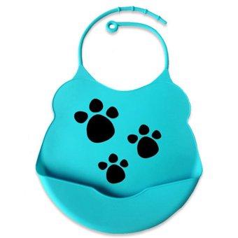 Waterproof Infant BB Soft Silicone Kid Washable Baby Bib (Blue)