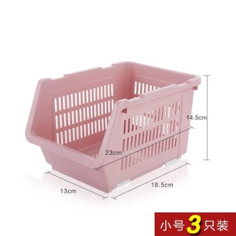 Built-In Shelf Thick Fruits And Vegetables Debris Admit Bonnets Shelf Kitchen Supplies 3 Pack , Small Pink 3 Pack - intl