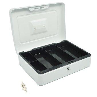 Rumah kantor 30.48 cm uang koin uang logam portabel yang dapat dikunci aman penyimpanan kotak keamanan pemegang kunci koper dengan kunci dan 5 kompartemen baki putih