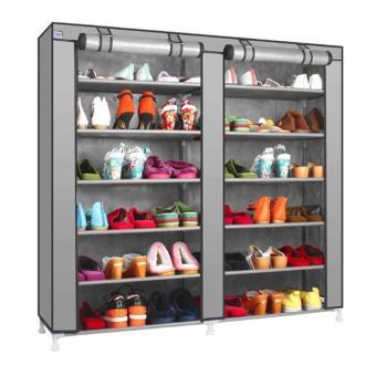 Harga Double Shoe Rack 7th 12 Layers with Dust Cover - Rak Sepatu - Abu Gray