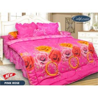 Harga Sprei CALIFORNIA RUMBAI motif PINK ROSE King Size 180 x 200 cm