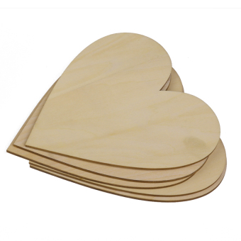 RIS Wooden Blank Heart Embellishments for DIY Crafts 150 x 3mm 5pcs