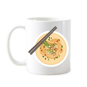China Chinese Dish Noodle Delicious Food Traditional Culture Illustration Pattern Classic Mug White Pottery Ceramic Cup Gift Milk Coffee With Handles 350 ml - intl