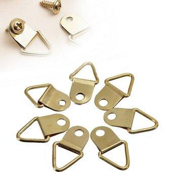 20 Ring Frame Hanger Hooks Picture Frame Hanging Triangle Screws Brass Plated - intl