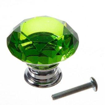40mm Diamond Shape Crystal Glass Cabinet Knob Cupboard Drawer Pull Handle T New green - intl