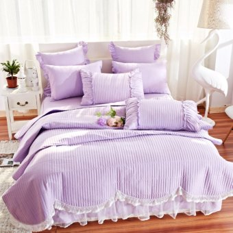 4-Pieces Solid Color Cotton Lacework Luxury Bedding Set Bed Set For Girl Bed Sheet Set Pillow Case Lilac colour - intl