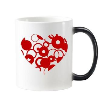 Valentine's Day Heart Shaped Red Circles Illustration Pattern Morphing Heat Sensitive Changing Color Mug Cup Milk Coffee With Handles 350 ml - intl