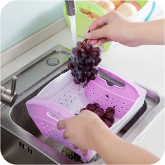Creative Foldable Drain Fruit Basket (purple) - intl