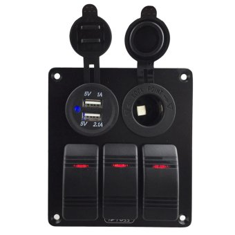 Waterproof 3 Gang Rocker Switch USB 3.1A Marine Boat Car Vehicles DC12V/24V - intl