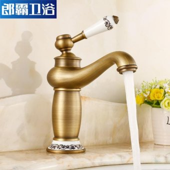 Continental basin mixer taps on cold and hot tub jade antique tap full bathroom fittings copper golden basin in Bathroom Cabinet under faucet porcelain pots, antique table porcelain Kim - intl