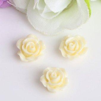 10pcs Resin Rose Flower flatback Appliques For phone/wedding/crafts Light Yellow - intl