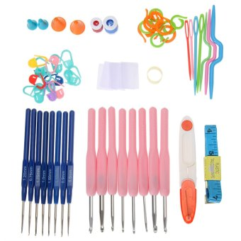 16 Sizes Crochet Stitches Knitting Craft Set with Case (Pink)