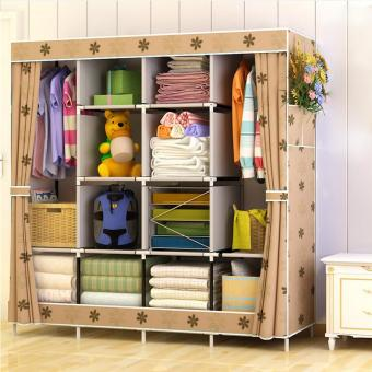 Non-woven Foldable Wardrobe Closet Durable Cabinets Folding Reinforcement Clothes Racks Organizer 170x167x39cm - intl