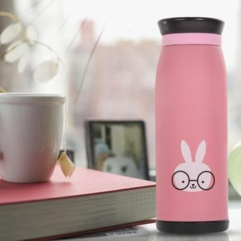Colourful Cute Cartoon Thermos Insulated Mik Water Bottle 500ml / Thermos - Pink