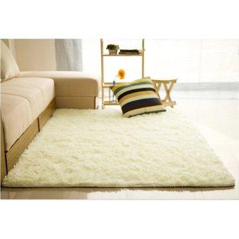 Harga MEGA Fluffy Rugs Anti-Skid Shaggy Area Rug Dining Carpet Floor Mat Creamy White