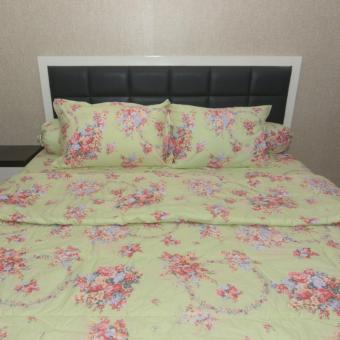 Sleep Buddy Set Sprei dan Bed Cover Green Rose Shabby CVC