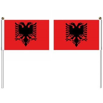 21x14cm Albania hand flag with pole national flag country flag banners indoor outdoor sports events show wedding staged flag pennants Multicolor