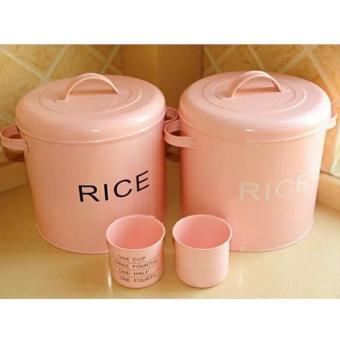 Rice Tin Box / Tempat Beras - Pink