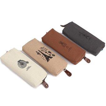 4 PCS Cotton Canvas Students Pen Pencil Case Coin Purse Pouch Cosmetic Makeup Bag