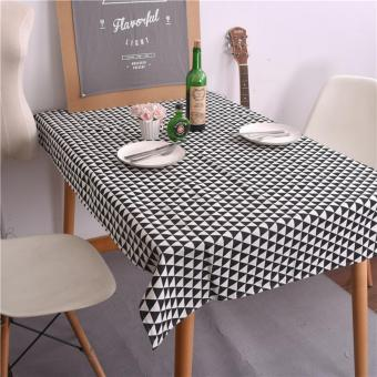 140X140CM Simplicity Nordic Triangle Geometric Tablecloth TV Cabinet Table Cloth Rural Coffee Table Cloth Round Tablecloths Square Table Cotton Computer Table Decorative Tablecloths - intl