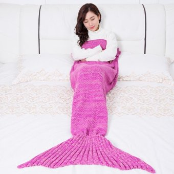 Women Handmade Knitted Crochet Blanket Mermaid Blankets Soft Warm Mermaid Tail Blankets Adult Sofa Bed TV Sleeping Bag Bed Sheet 180X90CM - intl