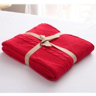 Cotton Thread Blanket Knitted Throw Blankets Air Conditioning Nap Cobertor Soft Bedsheet Bath Towels Gift 180X200CM - intl