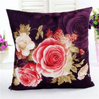 Charm Art Flower Cotton Linen Throw Pillow Case Cushion Cover Sofa Home Decor Red - intl