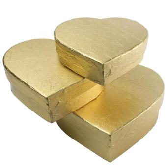 xfsmy Cardboard Candy Chocolate Mache Heart Shaped Boxes Nesting Gift Boxes (Gold,Set of 3) - intl