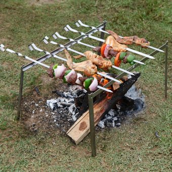 6pcs Stainless steel BBQ Skewers + 1pcs Skewer Bag+1pcs Outdoor Beach Folding Grill Rack Outdoor Cooking Set - intl