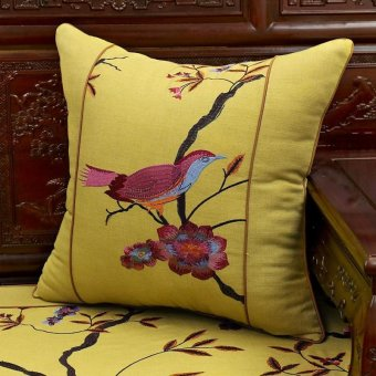 Chinese bird and flower embroidery pillow cushion mahogany wood sofa cushion seat backrest pillow chip-lumbar pillow 50x50cm kit - intl