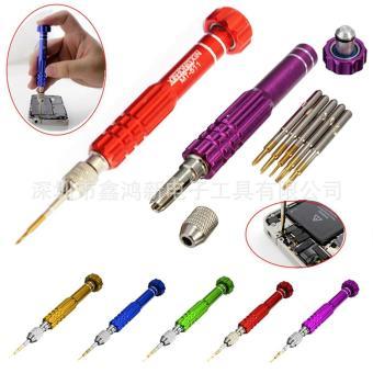 5-in-1 presisi Torx obeng Handphone reparasi arloji campuran magnet Set alat Kit Baru-red - International