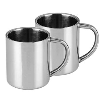 Set 2 PCS Stainless Steel Coffee Tea Beer Drinking Water Mug Cup Thickened Double Wall Design