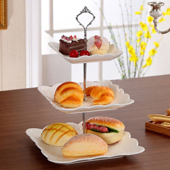 Tableware Utensil Cake Bread Biscuit Plate Fruitholder Rackfor Wedding Xmas Party (Gold) - Plates Not Included - intl
