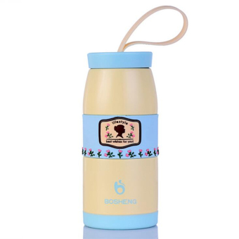 300ML Romantic starry sky keep-warm Vacuum Flasks candy color couples pot-bellied cup stainless steel thermos cup(Blue)