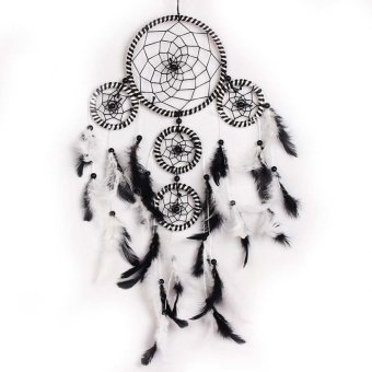 Handmade Feathers Wall Hanging Decoration Ornament Black+White - intl