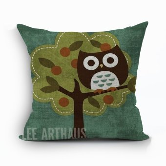 Yazilind Cute owl pattern decorative pillowcase room sofa home 45*45CM/17.55*17.55 inch