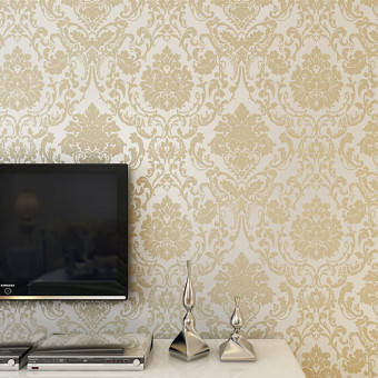 ... Harga 10m Retro 3D Floral Damask Textured Embossed Wallpaper Rolls Home Decals Creamy White