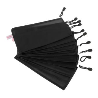 BolehDeals 10Pcs A6 Size Black Zippered Mesh Document Folder File Bags Office Supplies