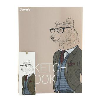 NICESHOP 26 cm x 19 cm 256 halaman B5 potret sketsa gambar Pad penyusunan naskah buku jurnal buku tempel buku catatan tebal (serigala)