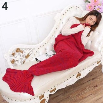 Sanwood Creative Soft Warm Mermaid Tail Sofa Blanket Sleeping Bag for Adult Girl Kid 180cm by 90cm (Red) - intl