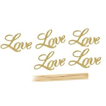 5pcs LOVE Cake Topper Sparkle Glitter Wedding Decorating Engagement Party Favour Gold