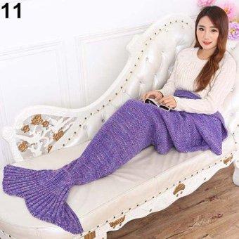 Sanwood Knitting Handmade Fish Mermaid Tail Shape Sofa Bed Quilt Blanket 90cm by 180cm (Purple) - intl